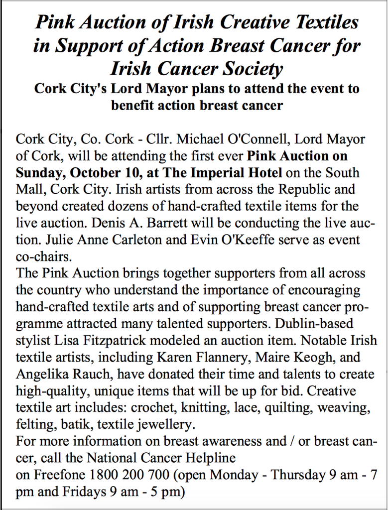 2010 Pink Auction mentioned in The Ballincollig Parishioner