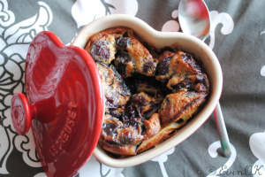 Dried Blueberry Bread Pudding for Valentine's Day