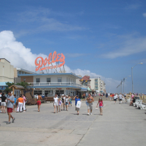 Old Bay Chicken recipe with a photo of Dolles on the boardwalk in Delaware