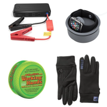 Jumper cable power box, Apple Watch charger bowl, hand salve for dry winter hands, and gloves for running
