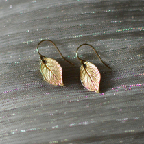 Treating Myself to Golden Leaf Earrings from J.K.W. Outlet on Etsy | EvinOK.com