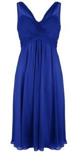 LK Bennett Silk Chiffon Flute Dress in Sapphire