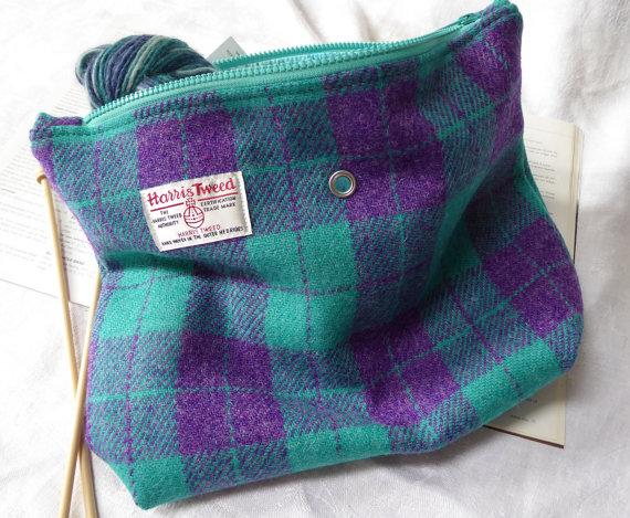 Harris Tweed Knitting Bag from Etsy
