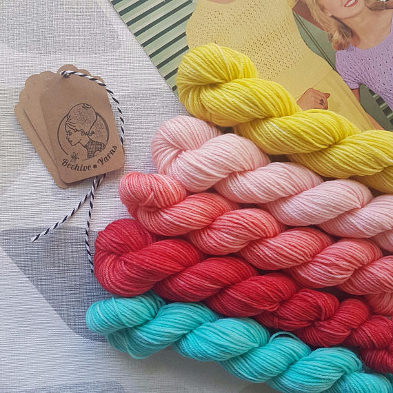 Stranded at the Drive In ~ 1950s 4ply mini skein set from Beehive Yarns in Colorado