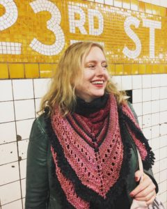 City Stitchette - Chelsea Girl Shawl on 23rd Street Subway