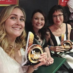 Me, Nadia of The Cottage Notebook, and Carol Feller of Stolen Stitches at 2017 Blog Awards