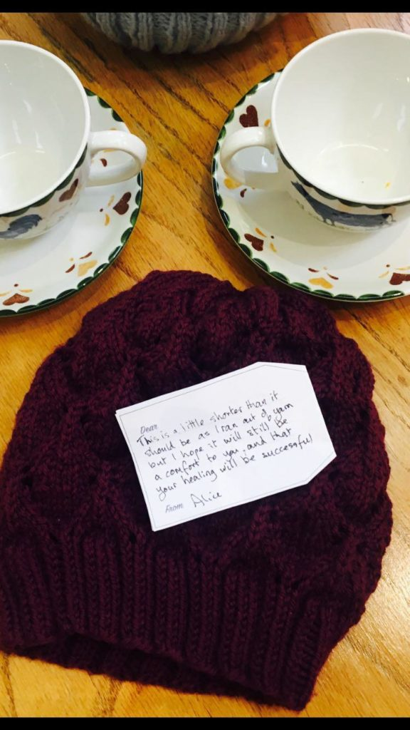 Beanie hat with tea cup
