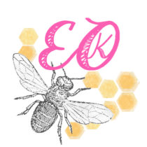 Logo with EOK letters, honeycombs, and a drawing of a bee