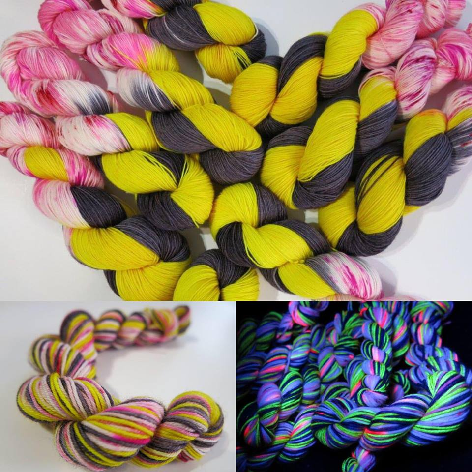 My Mama Knits Bee Mine colorway with bright yellow, deep black, and cheerful pink