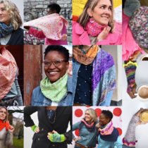 A photo collage showing all 12 knit samples from the Ultraviolet Knits book.
