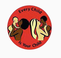 Red circle logo of parents holding infants