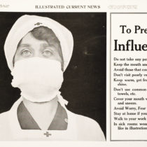 Nurse with surgical face mask protecting herself against the 1918 flu epidemic