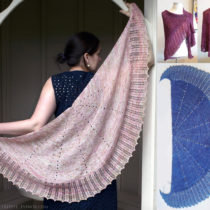 Falling Petals Shawl by Evin Bail OKeeffe shown in three colours and two yarn weights