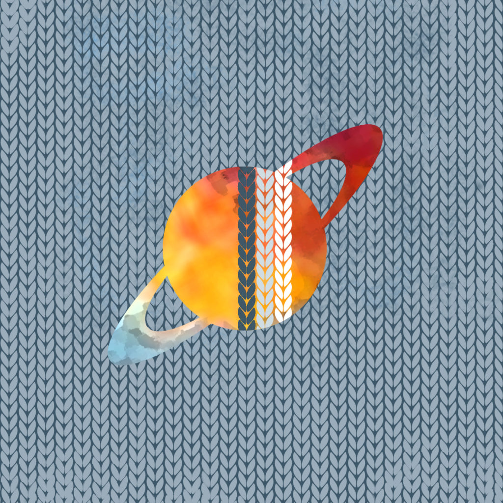 a watercolour saturn-like planet against a stockinette graphic background
