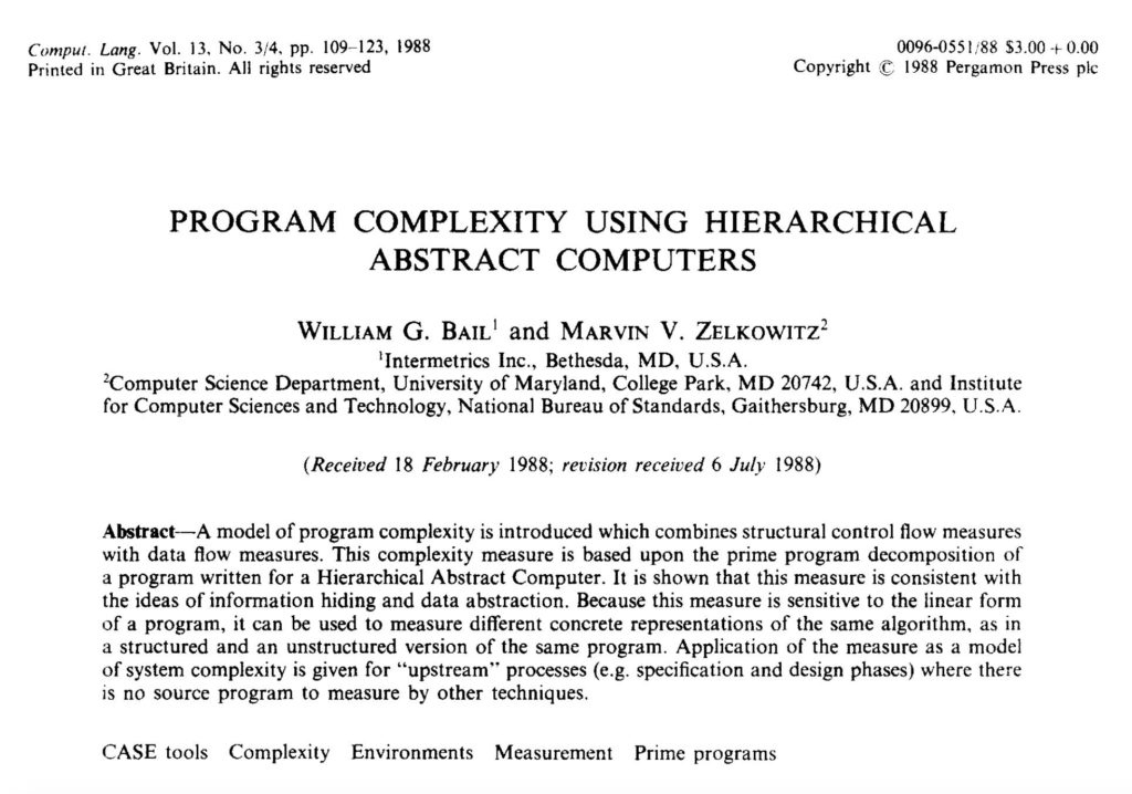 Program Complexity Using Hierarchical Abstract Computers PhD by William G. Bail